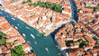 Aerial drone view of Venice city Grand Canal, island cityscape and Venetian lagoon from above, Italy