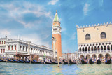 Beautiful view of the Doge's Palace and St. Mark's Basilica in Venice, Italy