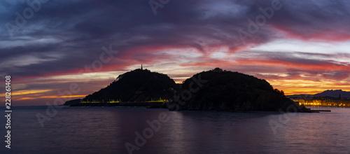 Dawn in the bay of La Concha, city of San Sebastian - 228261408