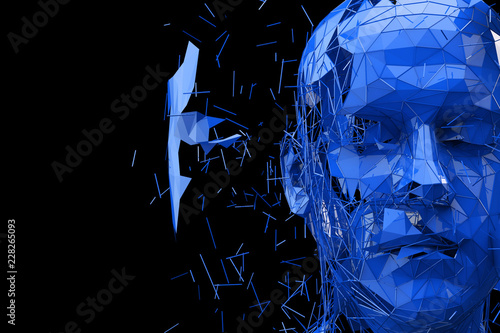 Sticker Artificial Intelligence concept. Human head made fom connected lines. 3D Rendering