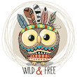 Cute Cartoon tribal Owl with feathers