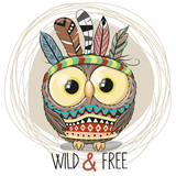 Cute Cartoon tribal Owl with feathers