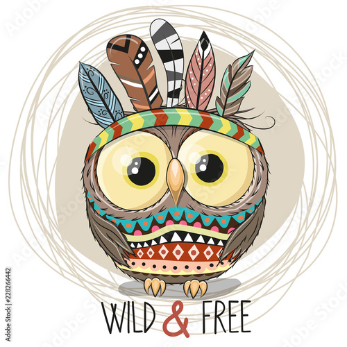 Cute Cartoon tribal Owl with feathers - 228266442