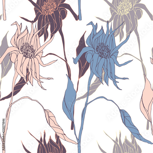 Blooming Flowers. Realistic isolated seamless flower pattern. Vintage background. Wallpaper. Hand drawn. Vector illustration. - 228271846