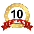 Jubilee button with banner 10 years