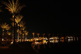Night panorama with view of illuminated palm trees on seacoast of Hurghada. Tropical resort - 228285238