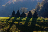 Autumn landscape in the mountains with stack of hay. Traditional hay stacks, typical rural scene of Fundatura Ponorului, Romania.  - 228286209