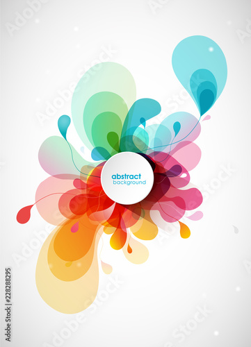 Abstract vector illustration with colorful half transparent flower petals. Also white circle for your own text. - 228288295