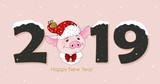 Cute festive piggy with the inscription 2019 and Happy New Year. Vector illustration.