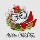 Cute festive cat with the inscription Merry Christmas. Vector illustration.