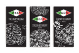 Design template for Italian restaurant. Cards with ink hand drawn pizzas. Vector illustration. - 228299832