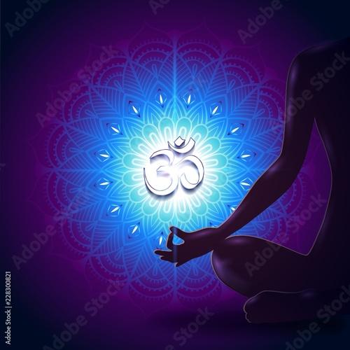 Sticker Yoga Mudra Mandala Blue