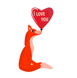 fox and red heart on a white background, vector illustration, Valentine's Day