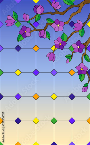 illustration-in-stained-glass-style-with-a-branch-of-a-flowering-tree-on-a-window-and-sky-background