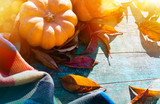 Thanksgiving With Pumpkins, autumn leaves And warm blanket On Wooden Table