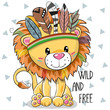 Cute Cartoon tribal Lion with feathers