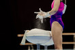 female gymnast gym chalk for dryer hands and grips