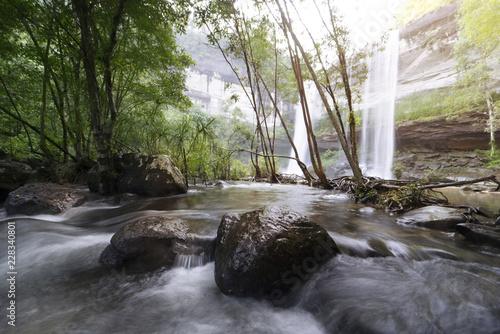 Beautiful waterfall in rain forest - 228340801