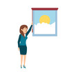 window with view of day and businesswoman - 228366261
