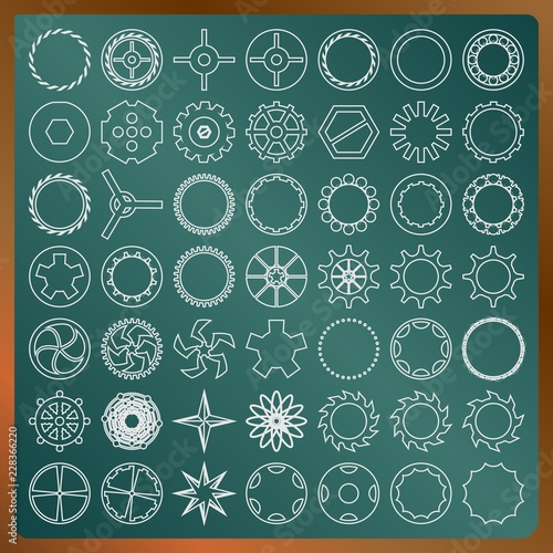 Set of gears on a greenboard vector image © Koriolis