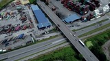 Drone shots of traffic and containers around the shipping port called northport in Klang, Malaysia - 228368623