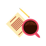 view aerial of cup coffee with document and pencil