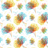 Watercolor tropical palm leaf vector pattern - 228375216