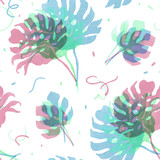 Watercolor tropical palm leaf vector pattern - 228375242