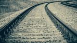 Railroad turns. Toned vintage monochrome image. - 228376295