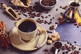 Cup of coffee composition isolated. Hygge style coffee cup - 228390092