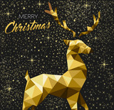 Christmas greeting card with gold glitter reindeer - 228397453