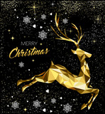 Christmas greeting card with gold glitter reindeer - 228397466
