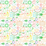 Food seamless pattern of modern outline icons - 228397626