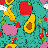 Hand drawn food seamless pattern for nutrition - 228397687