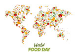 Food Day greeting card of vegetable world map - 228397850