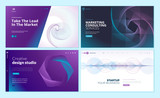 Set of web page design templates with abstract background for business, marketing, design agency. Modern vector illustration concepts for website and mobile website development.  - 228398813