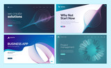 Set of web page design templates with abstract background for business app, project management, creative solutions. Modern vector illustration concepts for website and mobile website development.  - 228398848