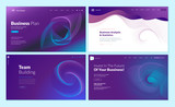 Set of web page design templates with abstract background for business plan, analysis and statistics, team building, investment. Vector illustration concepts for website development.  - 228398895