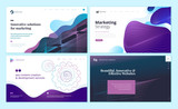 Set of web page design templates with abstract background for marketing, seo, website design. Modern vector illustration concepts for website and mobile website development.  - 228399847