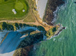 Leinwanddruck Bild - Drone view of a golf field next to the ocean in Etretat France