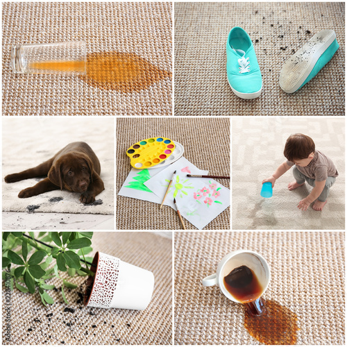 Set with different types of dirt on carpets. Cleaning concept