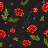 Delicate seamless pattern with poppies. Vector illustration. - 228428854