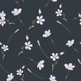 Delicate seamless pattern with wildflowers . Vector illustration. - 228428868
