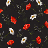 Delicate seamless pattern with poppies and wildflowers . Vector illustration. - 228428886