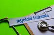 Leinwandbild Motiv Myeloid leukemia on Healthcare concept with green background