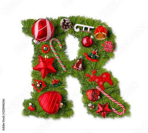 Foto Murales Christmas alphabet letter R