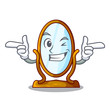 Wink big cartoon mirror in wooden frame - 228455497