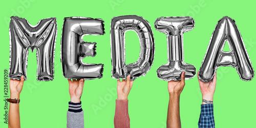 Leinwandbild Motiv Silver gray helium balloons forming the text media