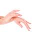 Beautiful women hands isolate, applying cream and massaging