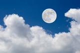 Romantic night. Full moon  over mountain background.